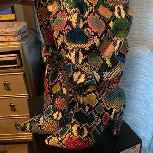 Fashion Nova Rainbow snake print boots